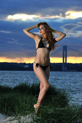 Young fit model posing in bikini on sunset time