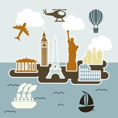In de dag Doodle travel icons
