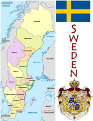 Sweden Europe national emblem map symbol motto