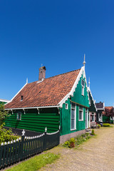 Traditional green Dutch historic house at the Zaanse Schans