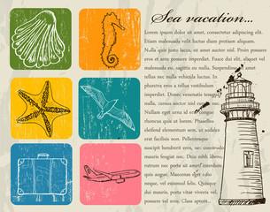 Vintage set of sea travel icons.