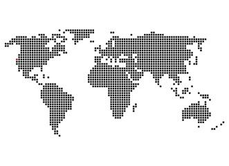 Pixelweltkarte mit Markierung von San Francisco