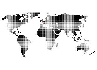 Pixelweltkarte mit Markierung von Paris