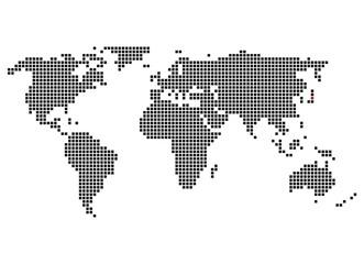 Pixelkarte mit Markierung von Tokio