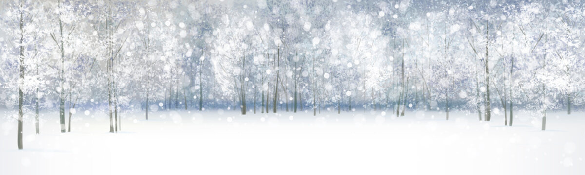Vector of winter landscape, snowfall in forest..