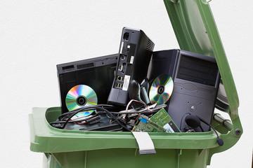 Discarded computer in litter bin