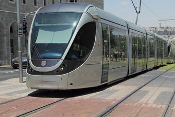 modern tram in old Jerusalem