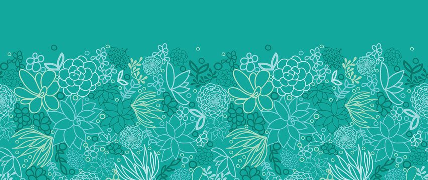 Vector green succulents horizontal seamless pattern background