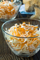 Coleslaw salad with shredded cabbage and carrot