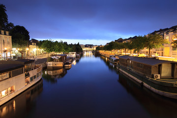 Canvas Prints City on the water Quai de l'Erdre de nuit - Nantes