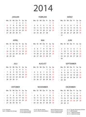2014 Kalender schwarz/weiss incl Feiertage