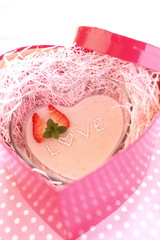 homemade strawberry mousse in heart sharp for valentines day