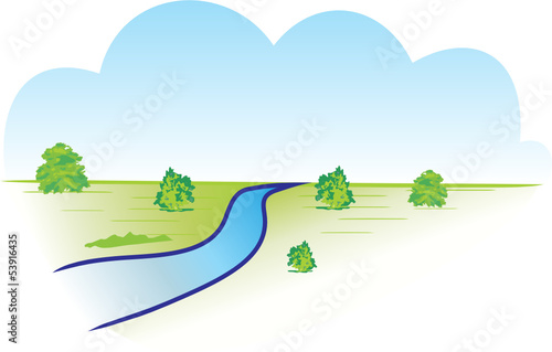 Wall mural RIVIERE ET PAYSAGE TWO