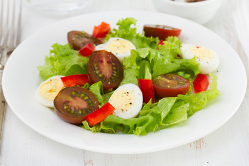 salad with eggs on the plate