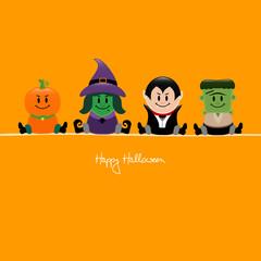 Halloween Pumpkin, Witch, Dracula & Frankenstein´s Monster