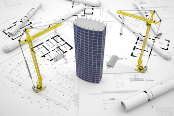 construction concept: drawings, building