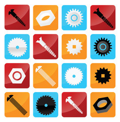Vector industrial buttons (tooth wheels, screws, circular saw)