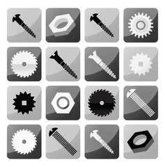 Vector industrial buttons (circular saw, tooth wheels, screws)