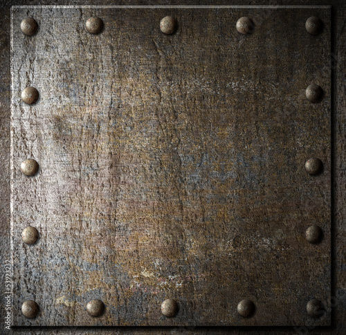 Wall mural metal background with rivets