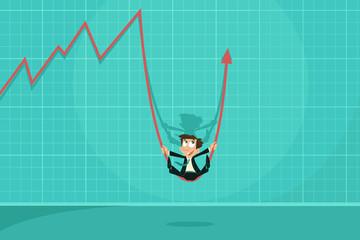 Businessman swinging on Profit Arrow