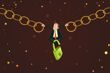 Businessman holding Chain