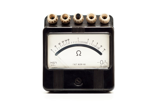 Close-up of an vintage ancient ohmmeter