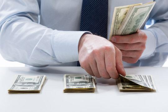 Bank teller counting dollar banknotes