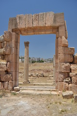 Antique gate and column - Jerash