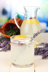 Lavender lemonade, on bright background