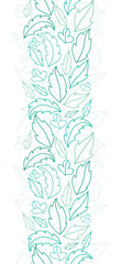 Vector leaves lineart vertical seamless pattern background with