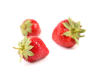 Green tails of strawberries