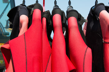 Red rubber wet suits