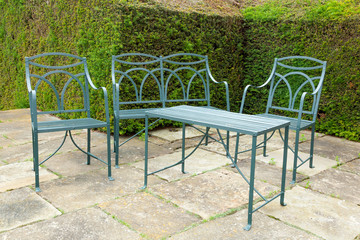 Iron garden furniture set.