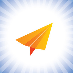 orange color paper plane flying high- concept vector graphic