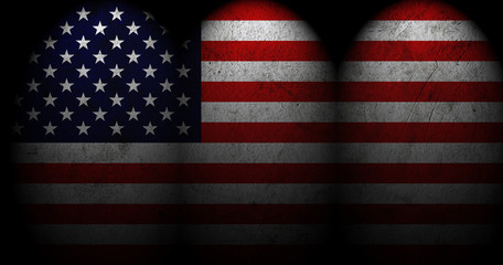 Dark grunge textured US Flag with spot light.