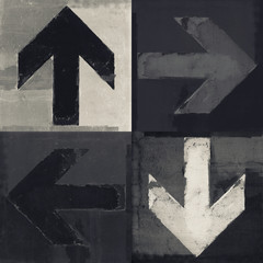 Four arrows signs painted on a wall, grunge design arrows set