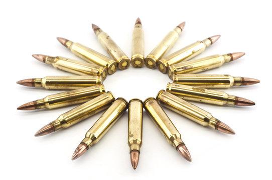 Cartridge 5.56 mm caliber, Machine gun bullet isolated.