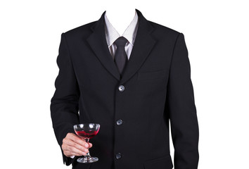 Template businessman holding wine glass, included clipping path