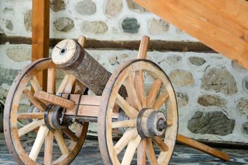 A wooden gun made of cherry wood