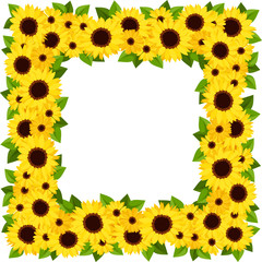 Sunflowers frame. Vector illustration.