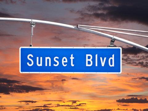 Sunset Blvd Overhead Street Sign with Dusk Sky