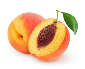 Isolated peaches. Whole fresh peach fruit with leaf and a half isolated on white background