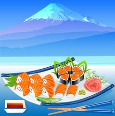 of sushi rolls with greenery on the background of Fujiyama