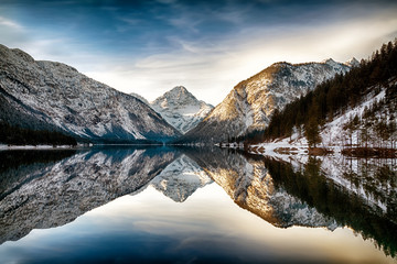 Foto op Plexiglas Grijs Reflection at Plansee (Plan Lake), Alps, Austria