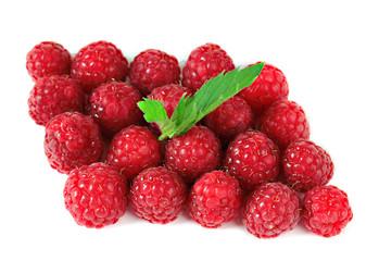 Ripe sweet raspberries isolated on white