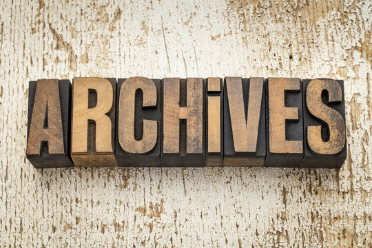 archives word in wood type
