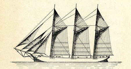 Three-masted gaff-rigged schooner