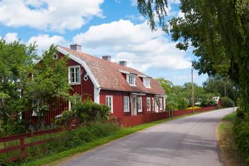 Straße im Küstenort Pataholm, Småland