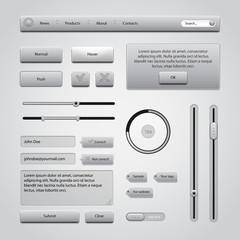 Light Gray UI Controls Web Elements 2