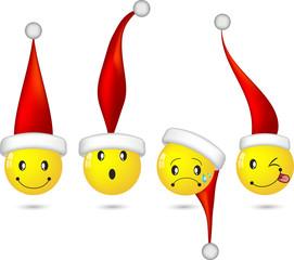 Set of Christmas emoticons, emoji,  smile icons. Isolated vector on white background